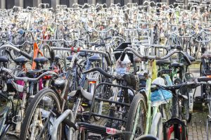 Bicycle parking organized chaos in Amsterdam, Netherlands, Europe
