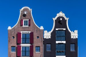Two Dutch canal houses in Amsterdam