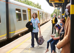 Face masks on trains and stations
